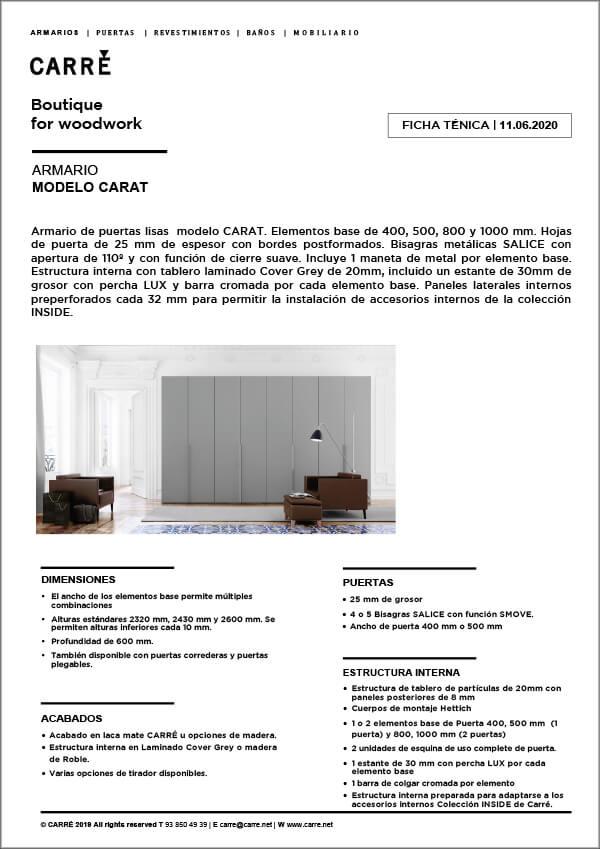 Ficha técnica armario CARAT
