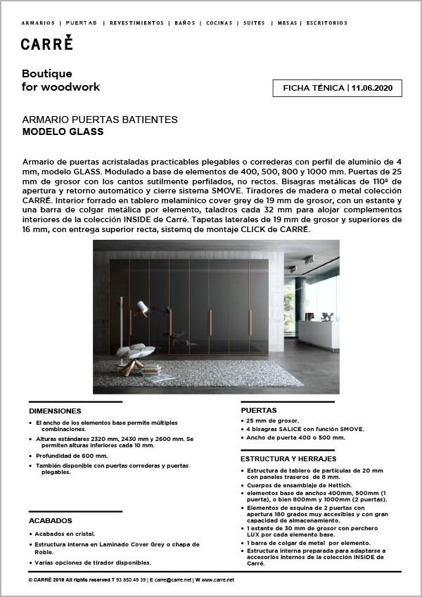 Ficha técnica armario GLASS