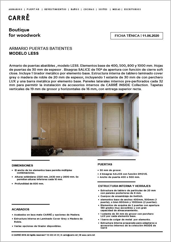 Ficha técnica armario LESS