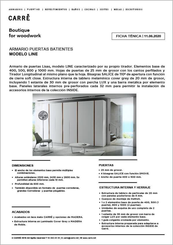Ficha técnica armario LINE