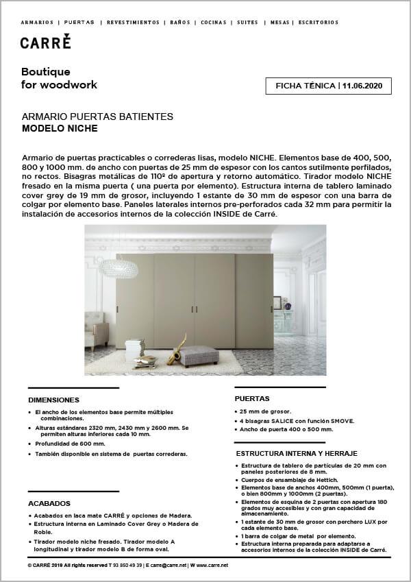 Ficha técnica armario NICHE