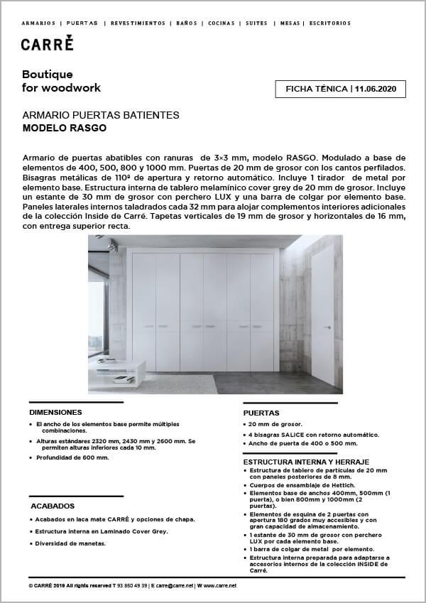 Ficha técnica armario RASGO