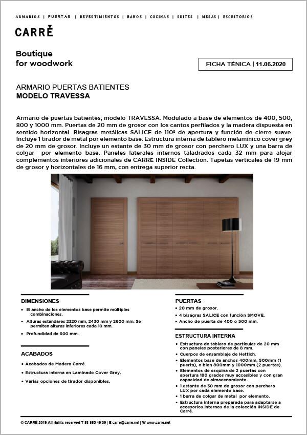 Ficha técnica armario TRAVESSA