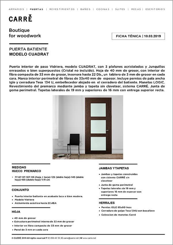 Ficha técnica puerta interior CUADRAT