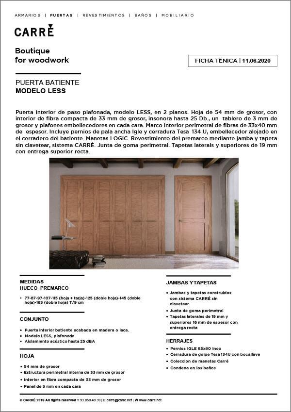 Ficha técnica puerta interior LESS