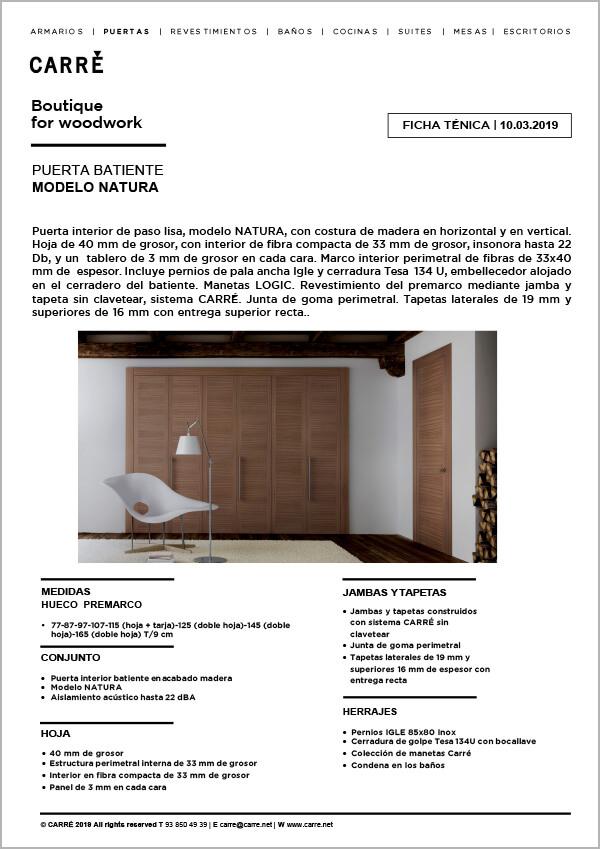 Ficha técnica puerta interior NATURA