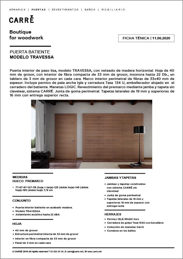 Ficha técnica puerta interior TRAVESSA